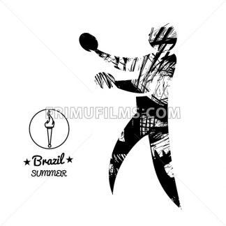 Brazil summer sport card with an abstract table tennis player, in black outlines. Digital vector image - frimufilms.com