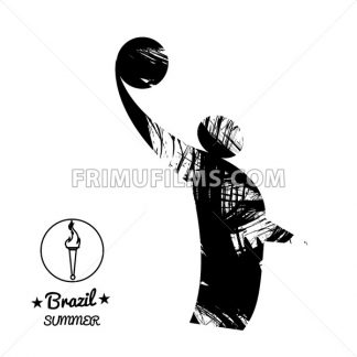 Brazil summer sport card with an abstract volley player jumping, in black outlines. Digital vector image - frimufilms.com