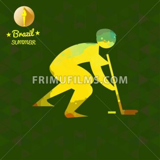 Brazil summer sport card with an yellow abstract hockey player. Digital vector image - frimufilms.com
