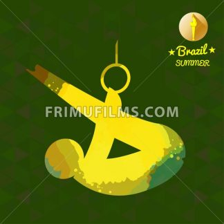 Brazil summer sport card with an yellow abstract sportsman performing gymnastics on rings. Digital vector image - frimufilms.com