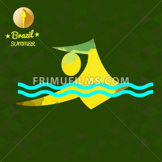 Brazil summer sport card with an yellow abstract swimmer. Digital vector image - frimufilms.com