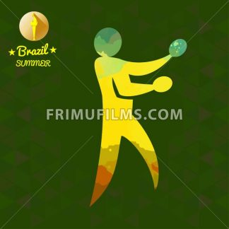 Brazil summer sport card with an yellow abstract table tennis player. Digital vector image - frimufilms.com