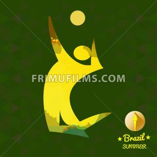 Brazil summer sport card with an yellow abstract volley player jumping. Digital vector image - frimufilms.com