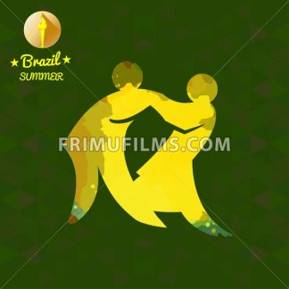 Brazil summer sport card with two abstract yellow wrestlers. Digital vector image - frimufilms.com
