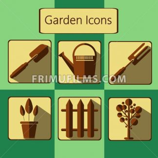 Brown gardening icons set over a green background, digital vector image - frimufilms.com