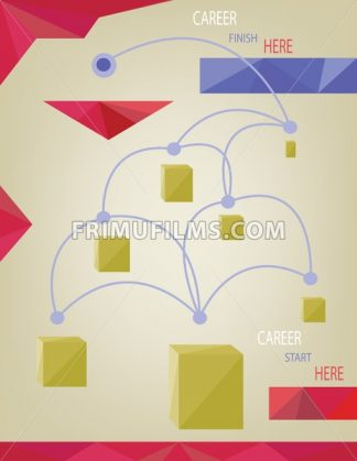 Career concept with dots, squares and paths infographic. Digital vector image - frimufilms.com