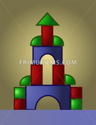 Colored castle playground built from small red, green and blue parts, digital vector image - frimufilms.com