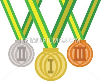 Colored medals for champions. Digital vector image - frimufilms.com