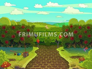 Croquet court with red roses, green garden with a paved road illustration. Raster image drawn in a cartoon style. - frimufilms