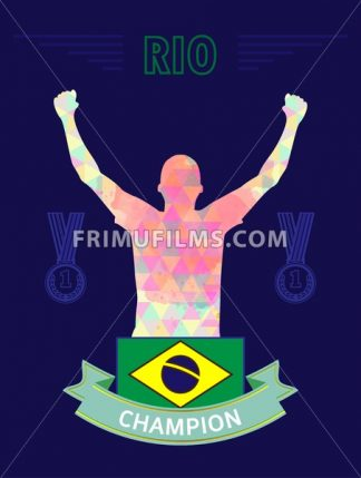 Digital vector, abstract rio winner sportman champion with hands in the air and flag of brazil, flat style - frimufilms.com