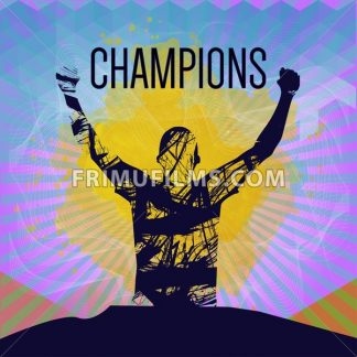 Digital vector, abstract winner sportman champion with hands in the air, flat style - frimufilms.com