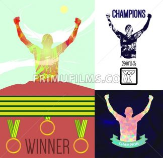 Digital vector, abstract winner sportsmen with hands in the air set, medals, flat style - frimufilms.com