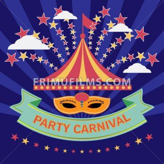 Digital vector blue mask over blue background with stars, carnival party, flat style - frimufilms.com