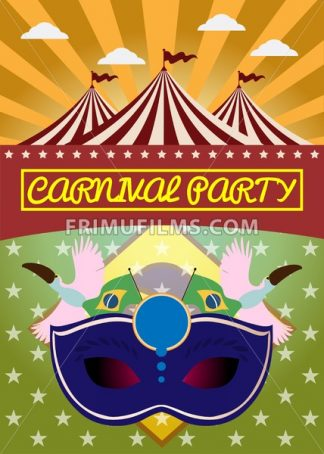 Digital vector blue mask over green and orange background with clouds, rio carnival party, toucan birds and brazilian flag, flat style - frimufilms.com