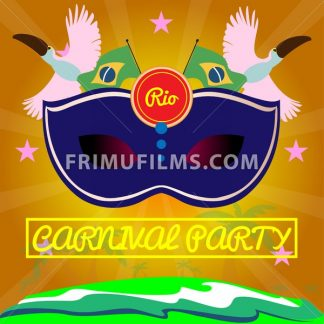 Digital vector blue mask over orange background with palm trees, rio carnival party, toucan birds and brazilian flag, flat style - frimufilms.com