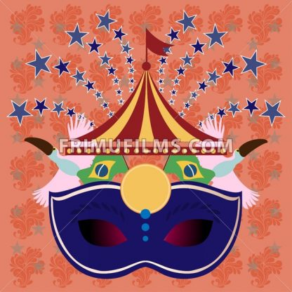 Digital vector blue mask over orange background with stars, rio carnival party, toucan birds and brazilian flag, flat style - frimufilms.com