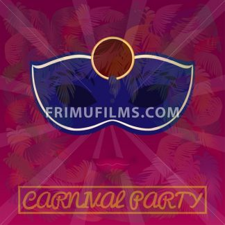 Digital vector blue mask over red background with palm trees, carnival party, flat style - frimufilms.com