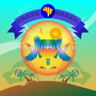Digital vector blue ribbon brazil party, toucan birds and brazilian flag, flat style - frimufilms.com