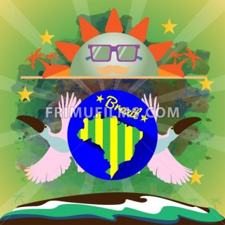 Digital vector blue sun with sunglasses, brazil party, toucan birds and brazilian flag, flat style - frimufilms.com