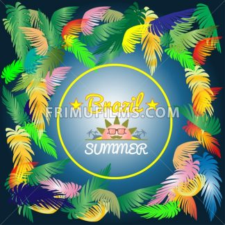 Digital vector brazil hot summer with colored palm trees, flat style - frimufilms.com