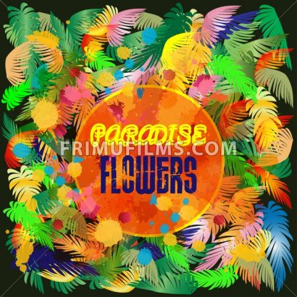 Digital vector colored paradise flowers background, flat style - frimufilms.com