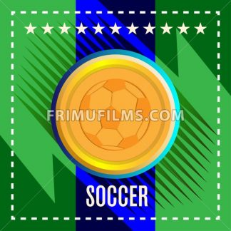 Digital vector, football and soccer ball, abstract green background with stars and triangles, flat style - frimufilms.com