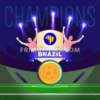 Digital vector, football and soccer brazil champions, gool, abstract sportsmen with hand in the air, stadium with lights - frimufilms.com