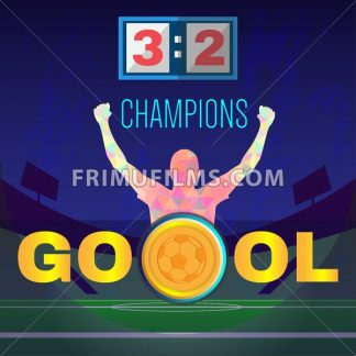 Digital vector, football and soccer champions, gool, abstract sportsmen with hand in the air, stadium with lights - frimufilms.com