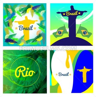 Digital vector image. Abstract Brazil and statue design over colored background. Flat style - frimufilms.com