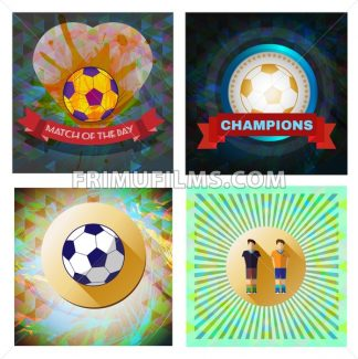 Digital vector image. Abstract football and soccer infographic set, match of the day text, a playing ball and heart. Flat style - frimufilms.com