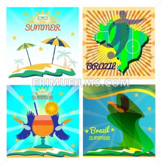 Digital vector image. Abstract summer card with toucan birds and a cocktail on sand and sea background. Sun umbrella, soccer, ball. Flat style - frimufilms.com