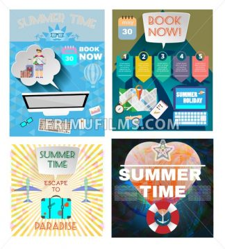 Digital vector image. Summer time orange infographic set, with book now text, computer and travel accessories, Flat style - frimufilms.com