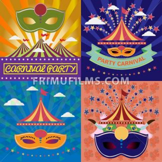 Digital vector mask sets over green and orange background with clouds, rio carnival party, toucan birds and brazilian flag, flat style - frimufilms.com