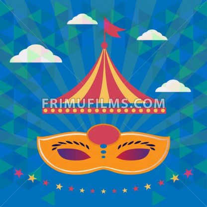 Digital vector orange mask over blue background with clouds, carnival party, flat style - frimufilms.com