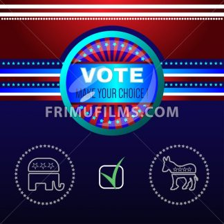 Digital vector usa election with make your choise, republican or democrat checkbox, red and blue background flat style - frimufilms.com