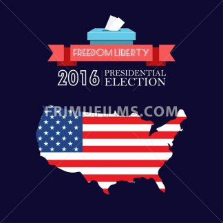 Digital vector usa presidential election 2016 with freedom, liberty and flag, flat style - frimufilms.com