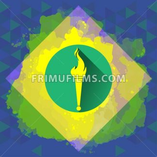Digital vector yellow burning torch, over colored background, flat style - frimufilms.com