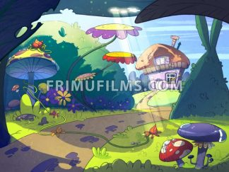 Fairy tale house in the middle of the forest surrounded by trees, mushrooms and flowers. Cartoon stylish raster illustration. - frimufilms