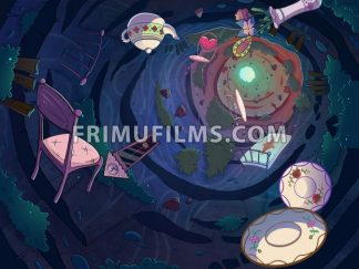 Falling in the rabbit hole with a bunch of objects. Cartoon stylish raster illustration. - frimufilms