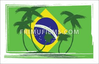 Flag of Brasil design with hand drawn palm trees. Digital vector image - frimufilms.com