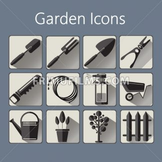 Gardening icons set over a silver blue background, digital vector image - frimufilms.com