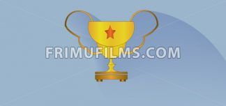 Gold cup with a star design over white blue background, flat style. Digital image vector - frimufilms.com