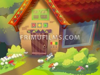 Granny's house in the forest drawn in cartoon style. Digital background raster illustration. - frimufilms