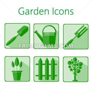 Green gardening icons set over a white background, digital vector image - frimufilms.com