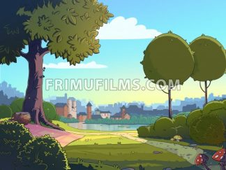 Green glade cartoon landscape background. Raster colorful illustration of a park near a town. - frimufilms