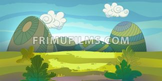 Green meadow raster illustration drawn in cartoon style. - frimufilms