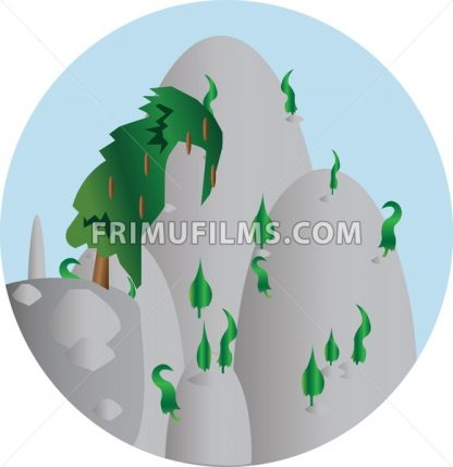 Green trees growing on silver hills in a round frame. Digital background vector illustration. - frimufilms.com
