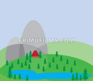 Green trees growing on silver hills with a blue background and a small red house near a blue lake. Digital background vector illustration. - frimufilms.com