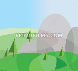 Green trees growing on silver hills with a blue background. Digital background vector illustration. - frimufilms.com