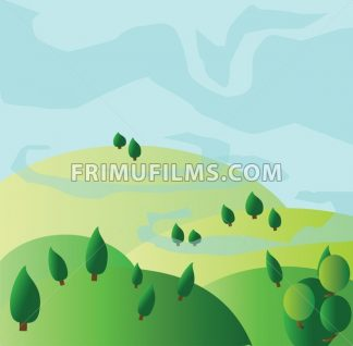 Green trees growing on yellow hills with blue skies. Digital background vector illustration. - frimufilms.com